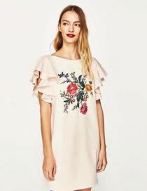 Fashion Pink Embroidery Flower Decorated Short Sleeves Dress
