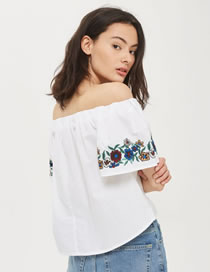 Fashion White Embroidery Flower Decorated Off Shoulder Shirt