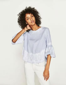 Fashion Light Blue Stripe Pattern Decorated Simple Shirt