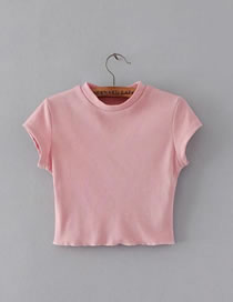 Fashion Pink Pure Color Decorated Short Sleeves Slim Shirt