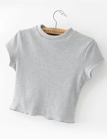 Fashion Gray Pure Color Decorated Short Sleeves Slim Shirt