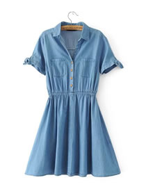 Fashion Blue Pure Color Decorated Short Sleeves Dress