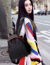 Fashion Black Stripe Decorated Color Matching Simple Backpack