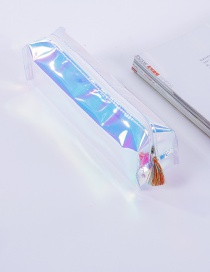 Elegant Blue Tassel Decorated Pure Color Simple Pencil Case