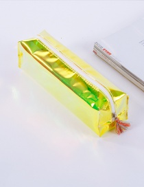 Elegant Yellow Tassel Decorated Pure Color Simple Pencil Case
