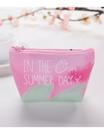 Elegant Pink+green Strawberry Pattern Decorated Color Matching Wallet