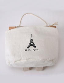 Fashion White Tower Pattern Decorated Pure Color Storage Bags