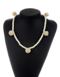 Fashion Beige Bead&ball Decorated Pure Color Pom Necklace