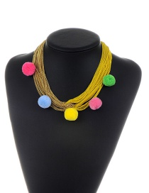 Fashion Yellow Pom Ball Decorated Weave Color Matching Pom Necklace