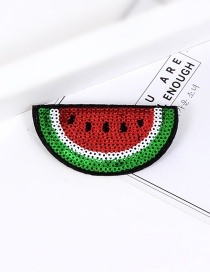 Trendy Red+green Sequins Decorated Watermelon Shape Simple Brooch