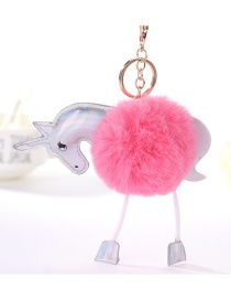 Fashion Pink Unicorn Shape Decorated Pure Color Pom Key Chain