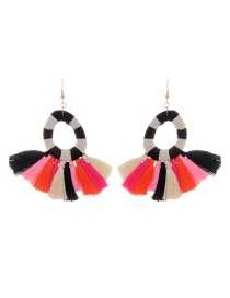 Fashion Multi-color Tassel Decorated Water Drop Shape Pure Color Earrings