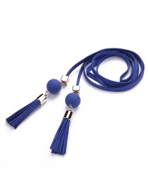 Trendy Sapphire Blue Tassel&bead Decorated Pure Color Simple Belt