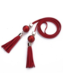 Trendy Red Tassel&bead Decorated Pure Color Simple Belt