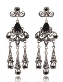 Fashion Black Flower Shape Decorated Hollow Out Pure Color Earrings