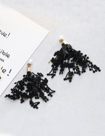 Fashion Black Diamond Decorated Flower Shape Pure Color Earrings