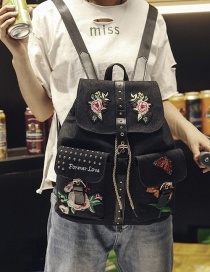 Fashion Black Embroidery Flower Decoreated Pure Color Backpack