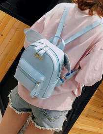 Fashion Blue Wings Decorated Pure Color Backpack