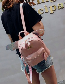 Fashion Pink Wings Decorated Pure Color Backpack