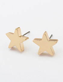 Fashion Gold Color Star Shape Decorated Simple Pure Color Earrings