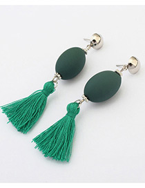 Retro Green Tassel Decorated Simple Long Chain Earrings