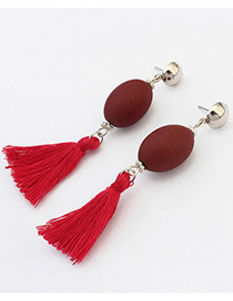 Retro Red Tassel Decorated Simple Long Chain Earrings