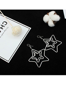 Fashion Silver Color Hollow Out Star Shape Pure Color Earrings
