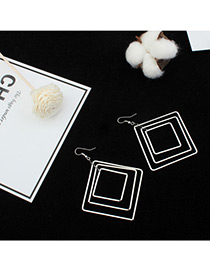 Fashion Silver Color Hollow Out Square Shape Pure Color Earrings
