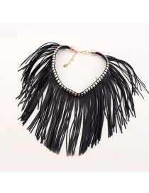 Trendy Black Tassel Decorated Pure Color Simple Choker