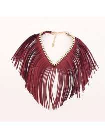 Trendy Red Tassel Decorated Pure Color Simple Choker