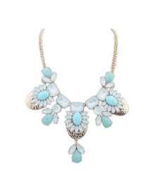 Trendy White+blue Geometric Shape Diamond Decorated Color Mathcing Necklace