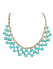 Sweet Blue Roound Shape Diamond Decorated Pure Color Necklace