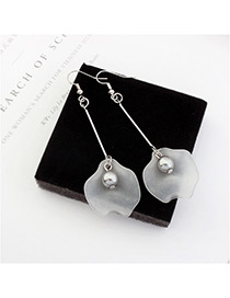 Trendy Silver Color+gray Leaf&pearl Shape Decorated Color Mathing Simple Earrings
