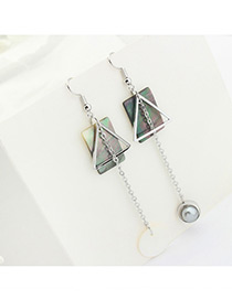 Fashion Gray Pearl Decorated Geometry Shape Color Mathicng Simple Earrings