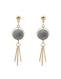 Trendy Gray Tassel Pendant Decorated Color Matching Simple Earrings