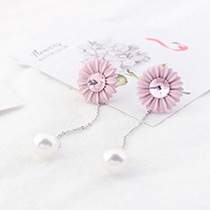Fashion Pink Flower Shape Decorated Round Shape Pendant Long Earrings