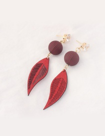 Trendy Red Leaf Pendant Decorated Color Matching Earrings