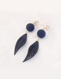 Trendy Navy Leaf Pendant Decorated Color Matching Earrings