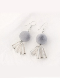 Trendy Gray Fuzzy Ball Decorated Color Matching Earrings