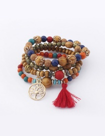 Vintage Multi-color Tree&tassel Decorated Multi-layer Bracelet
