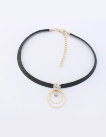 Elegant Gold Color+black Circular Ring Decorated Color Matching Simple Choker