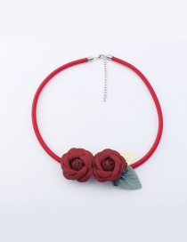 Fashion Red Flowers Decorated Pure Color Simple Choker