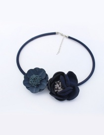 Fashion Navy Flowers Decorated Pure Color Simple Choker