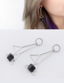 Elegant White+black Triangle Shape Decorated Pure Color Earrings
