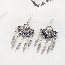 Fashion Dark Blue Leaf Decorated Sector Shape Pure Color Earrings