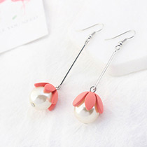Lovely Watermelon Red Flower Shape Decorated Earrings