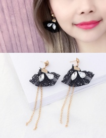 Elegant Black Diamond&tassel Decorated Simple Lace Earrings