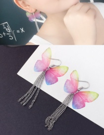 Personalized Multi-color Tassel&butterfly Decorated Simple Earrings