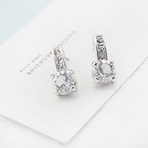 Fahsion Silver Color Diamond Decorated Pure Color Earrings