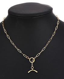 Fashion Gold Color Copper Chain Ring Buckle Pendant Necklace